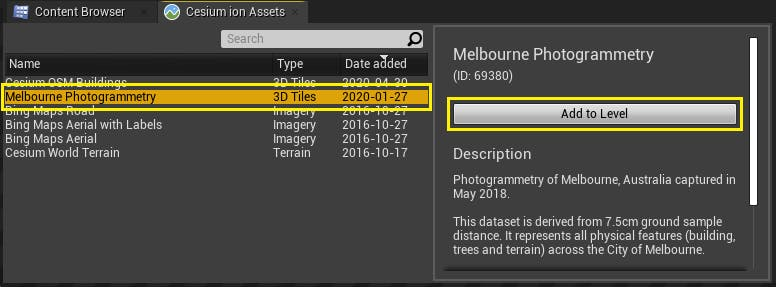 Cesium for Unreal photogrammetry asset list
