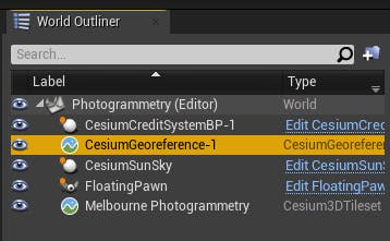 Cesium for Unreal photogrammetry georeference in outliner