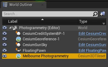 Cesium for Unreal photogrammetry world outliner