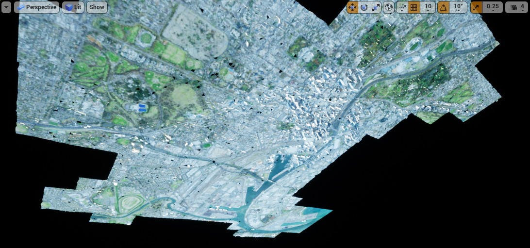 Cesium for Unreal photogrammetry zoomed to melbourne