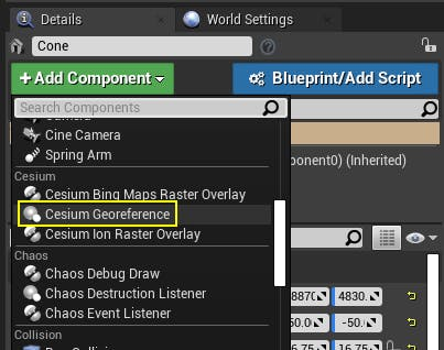 Cesium for Unreal placing add Cesium georeference