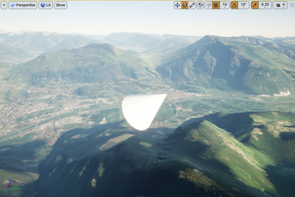 Cesium for Unreal placing cone in italy