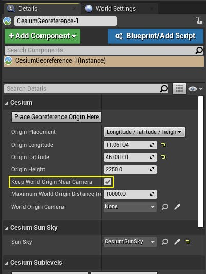 Cesium for Unreal placing disable rebasing