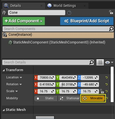 Cesium for Unreal placing movable