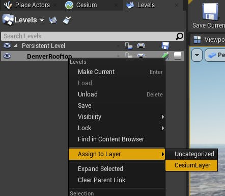 Cesium for Unreal sublevels assign layer