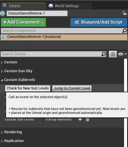 Cesium for Unreal sublevels check for sublevels