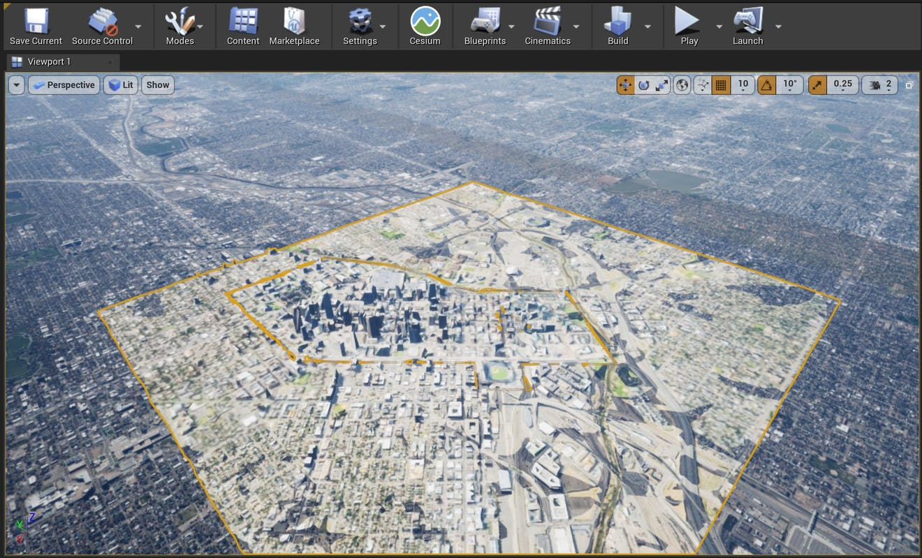 Cesium for Unreal sublevels denver double click