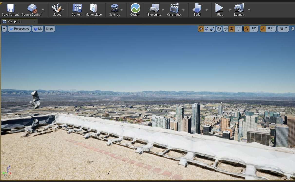 Cesium for Unreal sublevels denver rooftop