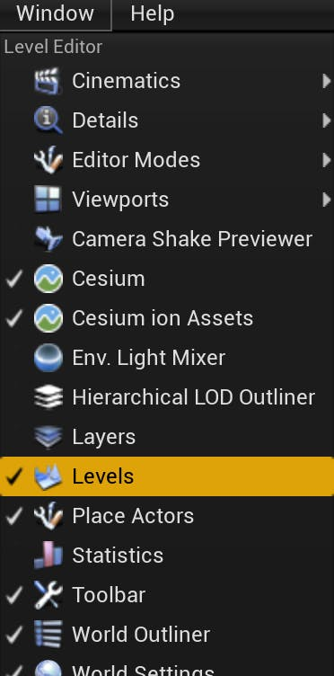 Cesium for Unreal sublevels levels menu