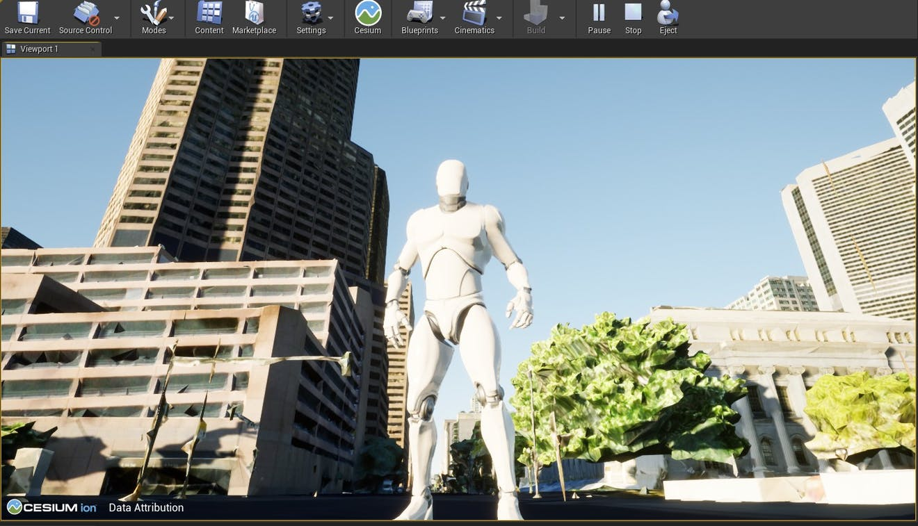 Cesium for Unreal sublevels man on street
