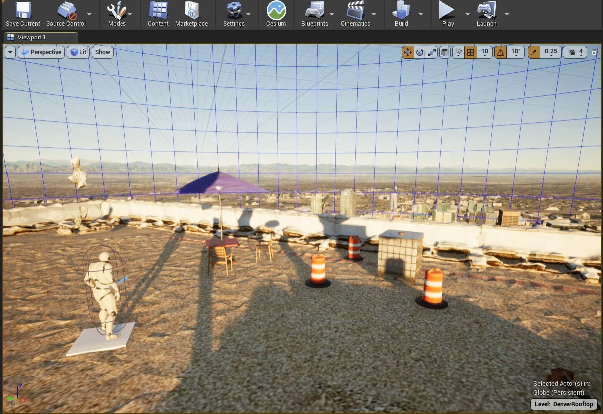 Cesium for Unreal sublevels rooftop scene