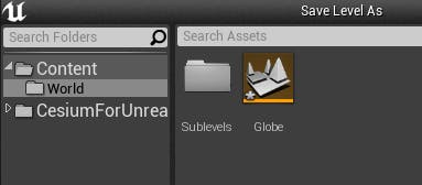 Cesium for Unreal sublevels sublevels folder