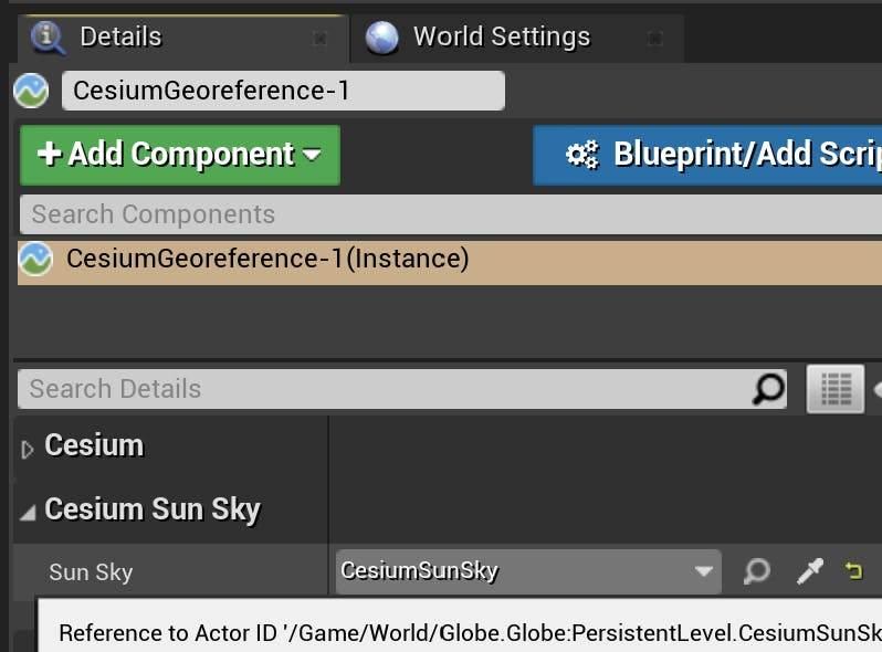 Cesium for Unreal sublevels sunsky geo