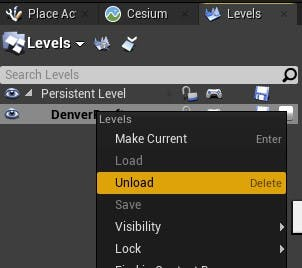 Cesium for Unreal sublevels unload level