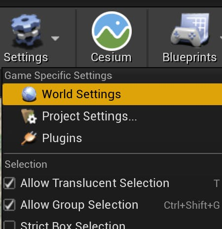 Cesium for Unreal sublevels world settings