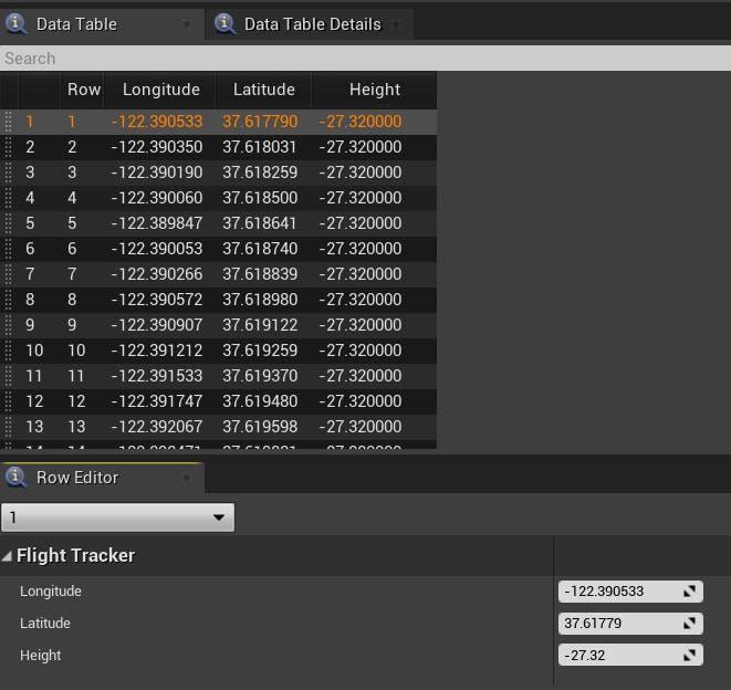 Cesium for Unreal Flight tracker dataTableInUnreal