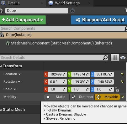 Cesium for Unreal fly to cube movable
