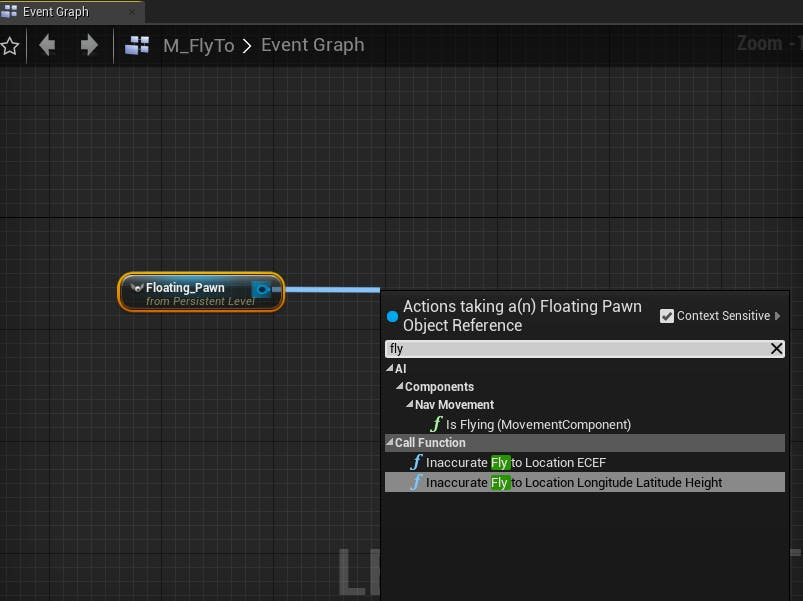 Cesium for Unreal fly to fly to cartographic node