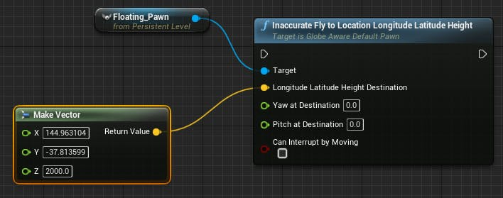 Cesium for Unreal fly to fly to destination