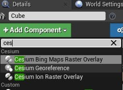 Cesium for Unreal fly to georeference cube
