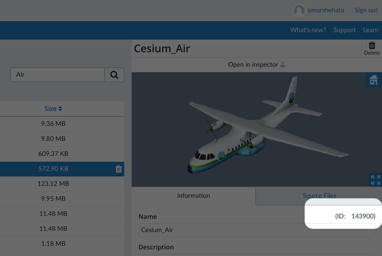 Flight tracker asset id