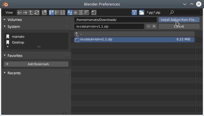 Integrating with Blender InstallFromFile