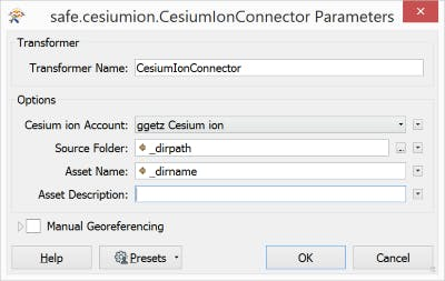 Integrating with FME cesiumIonConnectorOptions