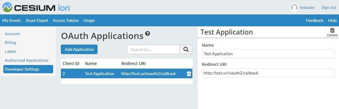OAuth register application