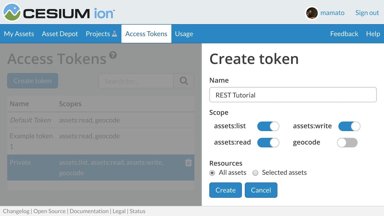 REST API Cesium.com ion tokens