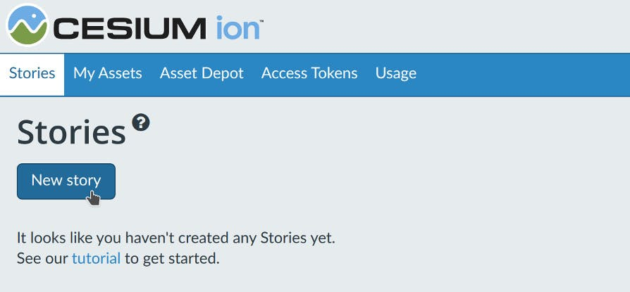 Stories introduction new story button