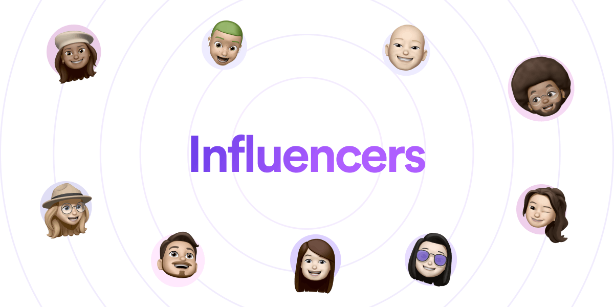 """""""Influencers"""" written in text and nine Memojis surrounding the text"""