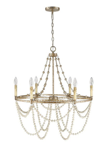 Isabelle Chandelier (1) in Distressed Silver Leaf & Driftwood White