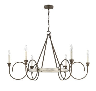 Camille Chandelier in French Washed Oak & Weathered Iron