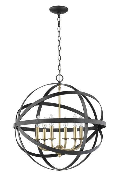 The Orbit Pendants in Matte Black & Antique Brass