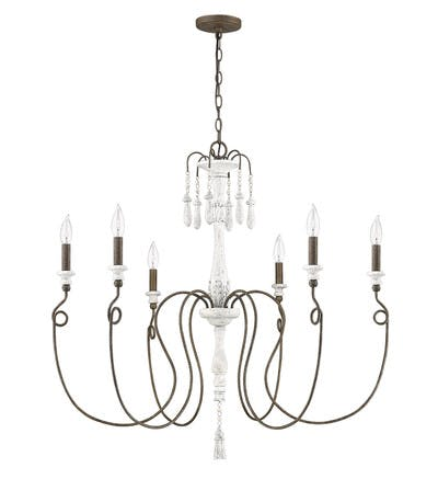 Avignon Chandelier (large) in French White & Weathered Iron
