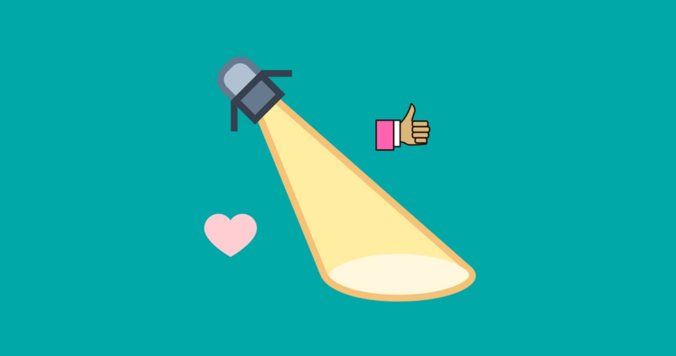 Colourful cartoon illustration of a spotlight accompanies by a heart and hand giving a thumbs up