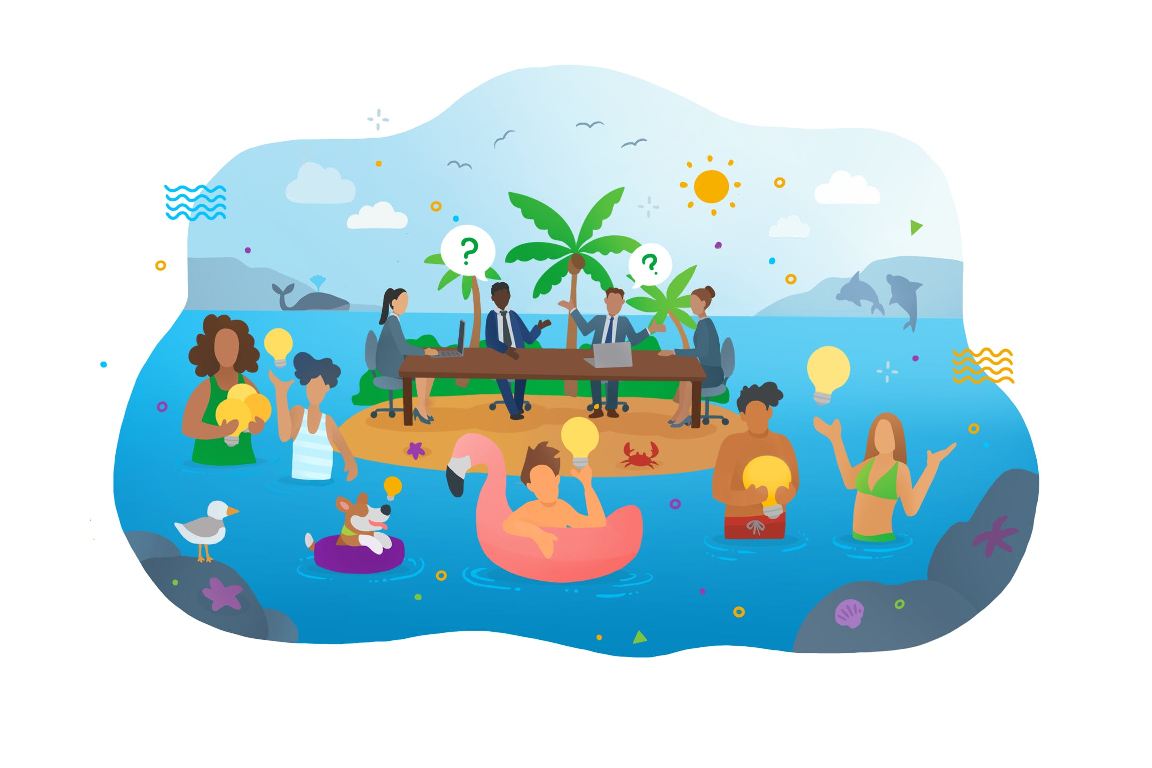 Cartoon illustration of people in the water while a business meeting takes place on the island.