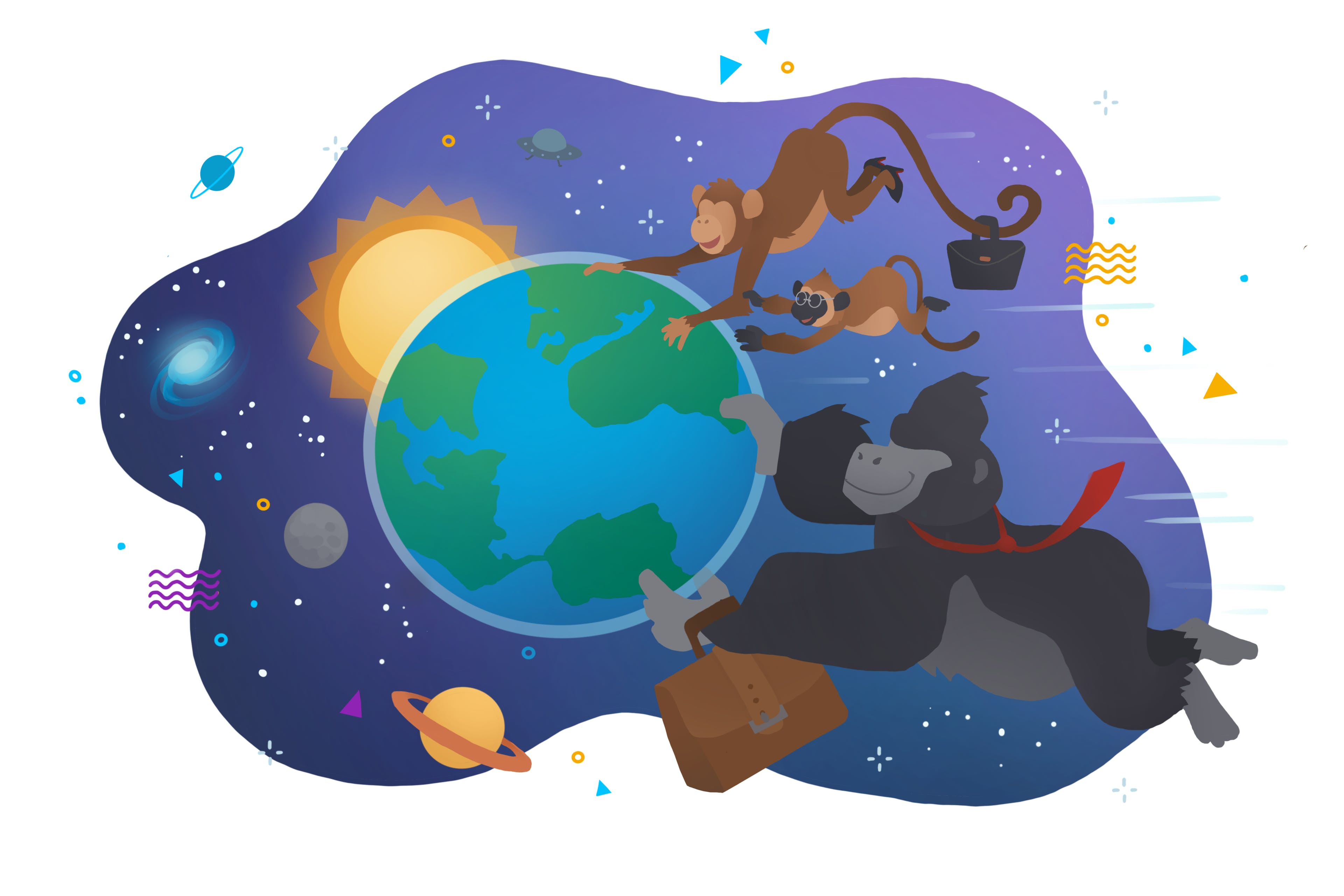 A colourful illustration of black and brown monkeys flying through space as they hold on to the earth.