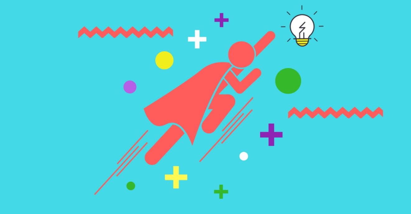 An illustration of a red stick figure super hero propelling upwards while surrounded by circles, plus signs, and squiggly lines.
