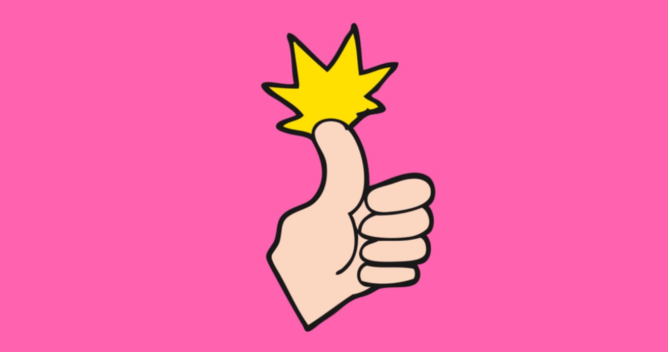 A cartoon image of a hand giving a thumbs up with a yellow spark on top.
