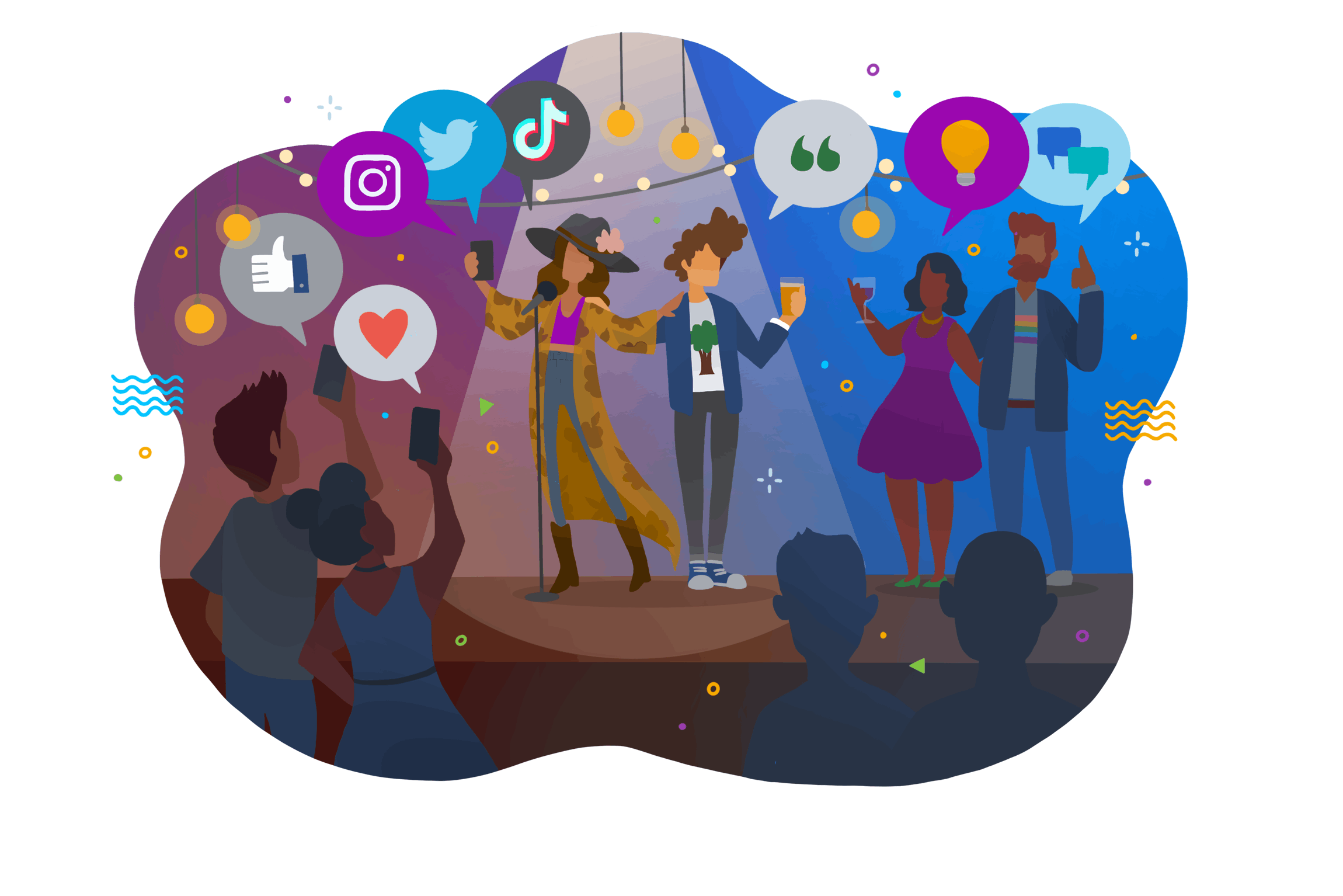 A colourful cartoon illustration of people standing on stage while a crowd cheers them on.