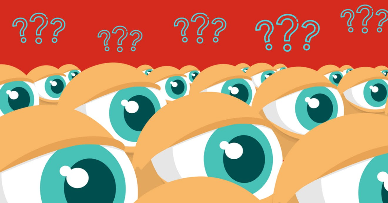 A crowd of cartoon eyes with question marks overtop.