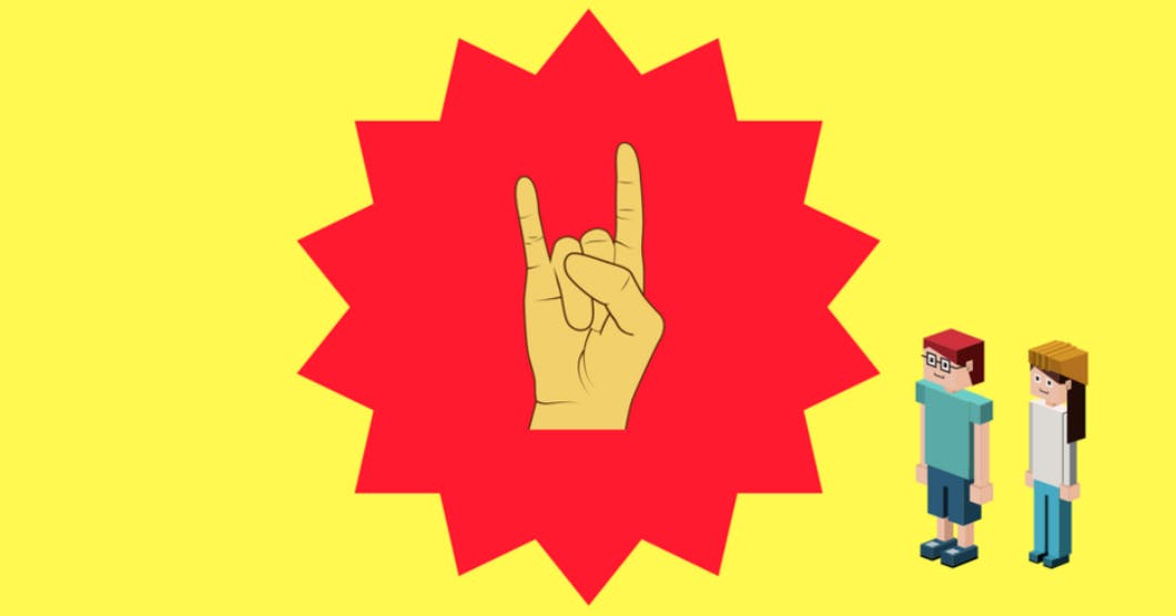 A cartoon illustration of a hand gesturing rock-on in the centre of a red shape with many points.