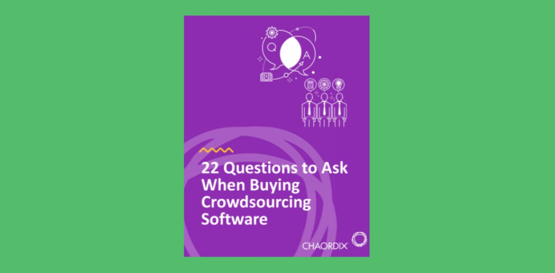 A digital images of the 22 question to Ask When Buying Crowdsourcing Software ebook cover