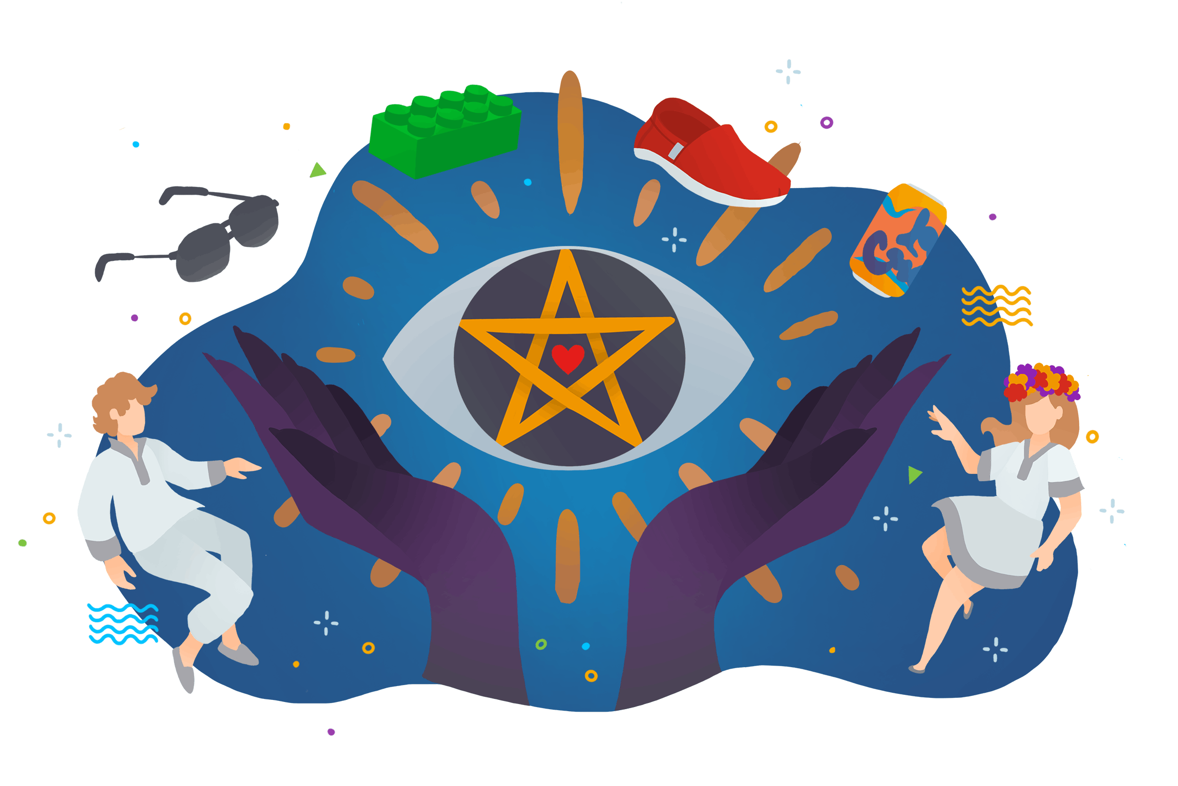 A colourful illustration of two hands revealing an illuminated eye while people and inanimate objects float around near by.