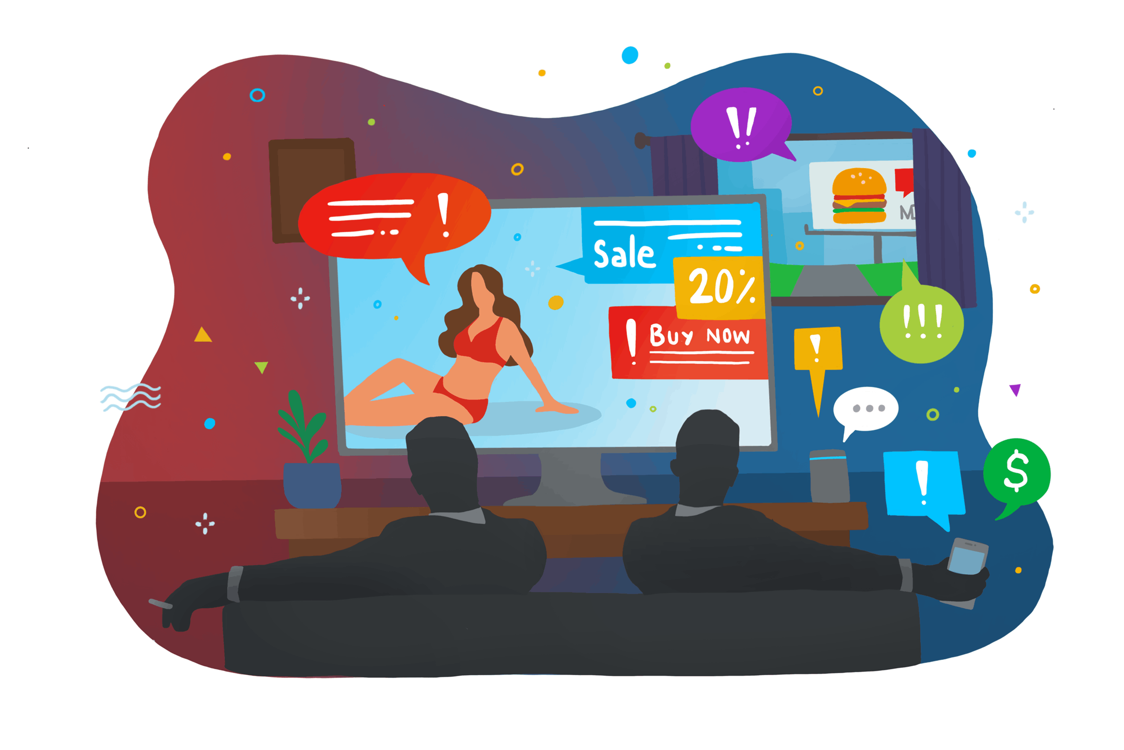 Colourful illustration of two men watching a commercial advertisements with notifications popping out of the screen.