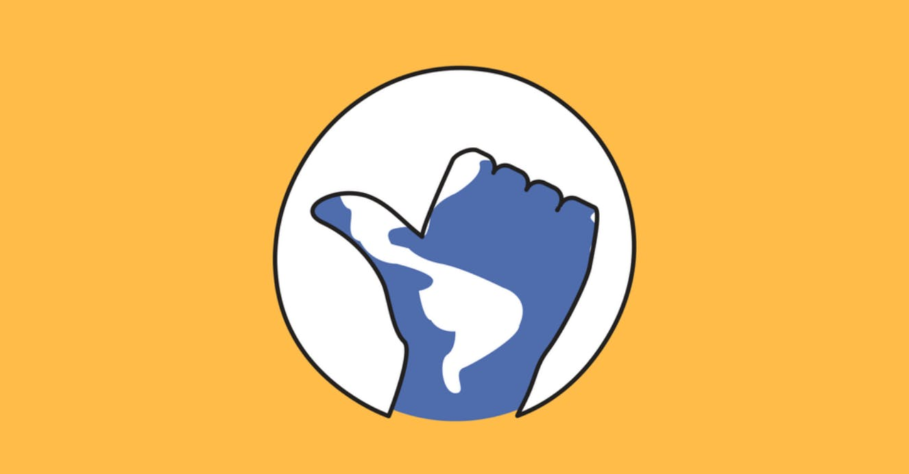 Cartoon illustration of a blue and white hand giving a thumbs up in the centre of a circle.