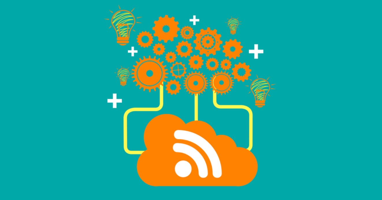 An illustration of an orange cloud with a wifi symbol branching off to connect with gears, light bulbs, and plus signs.
