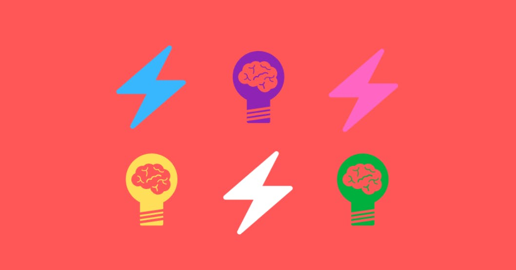 Cartoon illustration of two rows of colourful lightening bolts interchanging with colourful lightbulbs with brains in the glass bulb.