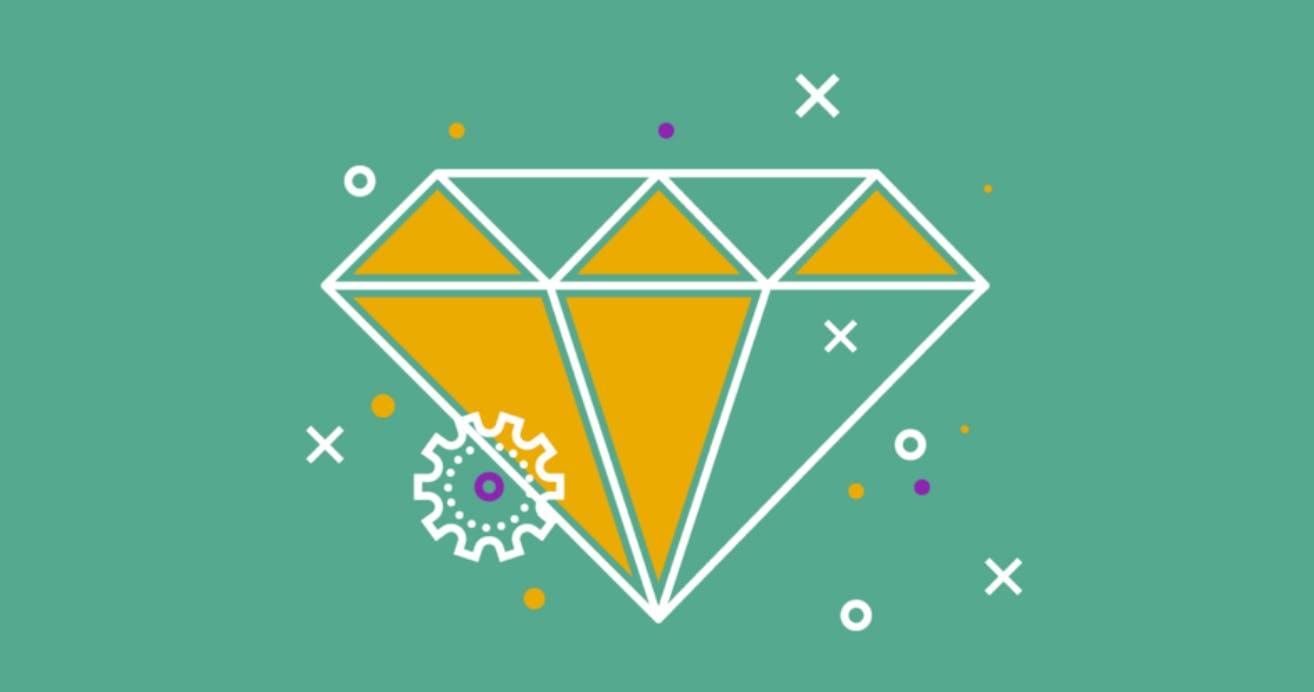 Yellow cartoon diamond overlaid on a green background.